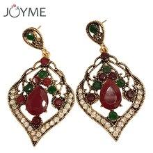Indische Retro Gold Drop Ohrringe für Frauen Braut Damen Ohrringe Hängen Ethnische Lange Große Grüne Blatt Ohrring Weibliche Bijoux