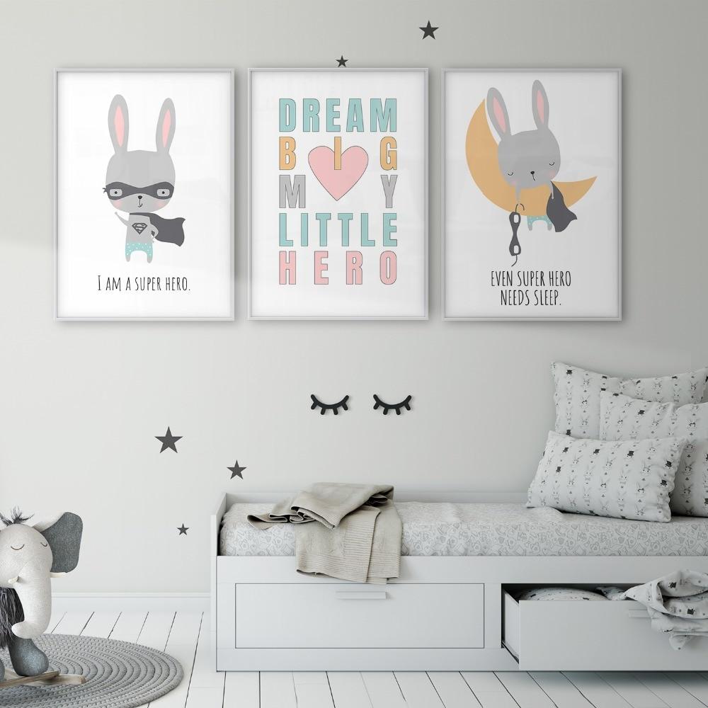 Super héroe conejo habitación de bebé de la habitación de los niños poster para guardería Lona de arte de pared de vivero Decor vivero habitación nórdica para niños foto