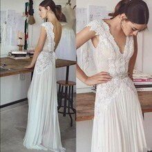 2019 Backless Wedding Gown Lace Chiffon Bridal Dress Cheap robe de mariee Boho Ivory Bridal Dresses vestido de noiva