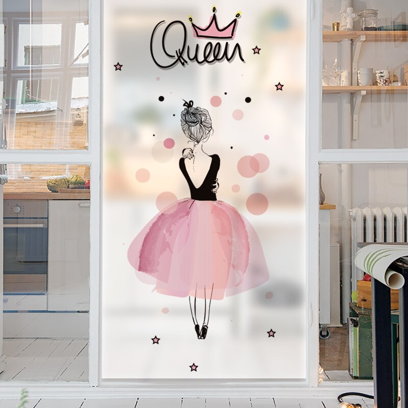 Bonitas pegatinas de vidrio esmerilado para mujer, pegatinas estáticas de papel de aluminio opaco claro, pegatinas para Baño