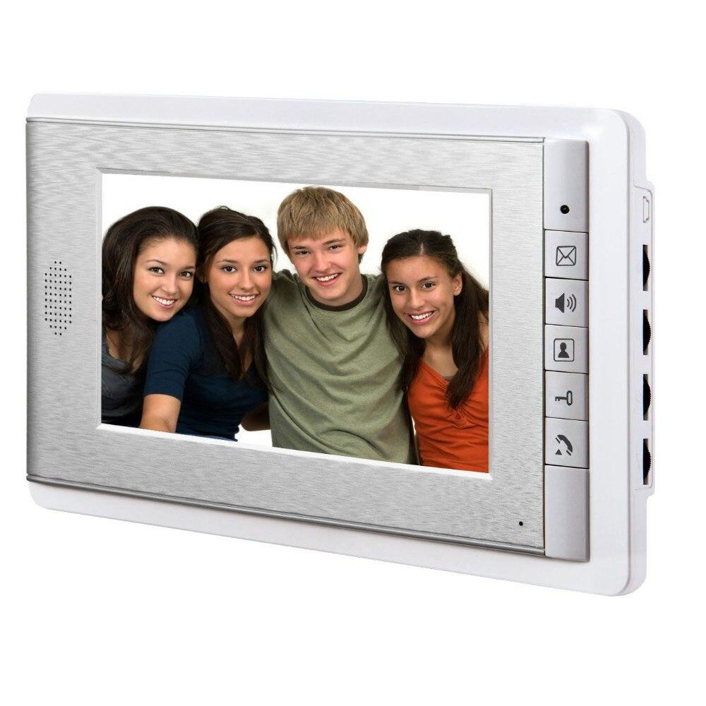 7-дюймовый проводной цветной ЖК-экран 2-сторонний видеодомофон, Поддержка мониторинга, разблокировка, двухсторонний дверной Интерком