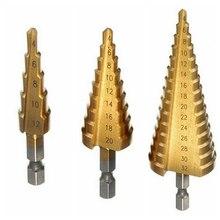 Hot 2 Sizes HSS Steel Step Sharpening Metric Spiral Flute The Pagoda Shape Hole Cutter 4-12/20mm HSS Steel Cone Drill Bit Set