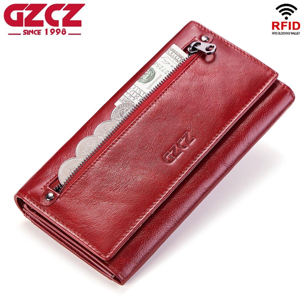 Gzcz carteira de couro legítimo, bolsa de moedas feminina, portomonee, marca de luxo, kashelek, longa walet, para mulheres