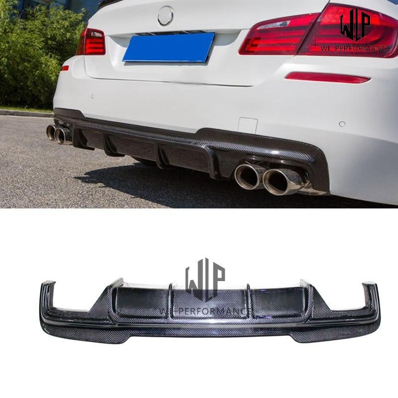 Difusor trasero de doble salida de fibra de carbono F10 F18 MT para BMW serie 5 F10 F18 M-TECH 520i 525i 530i 535i 2011-2017