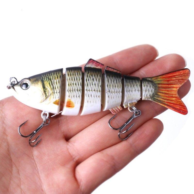 Señuelo de Pesca 10cm 18g ojos 3D 6 segmentos señuelo duro para Pesca Crankbait con 2 anzuelos cebos de Pesca cebos