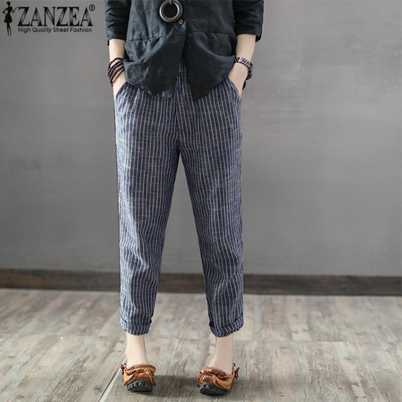 ZANZEA, pantalones largos de Harem a rayas para mujer, pantalones informales de algodón y lino de otoño 2020, pantalones de trabajo con bolsillos, ropa de calle de mujer de talla grande