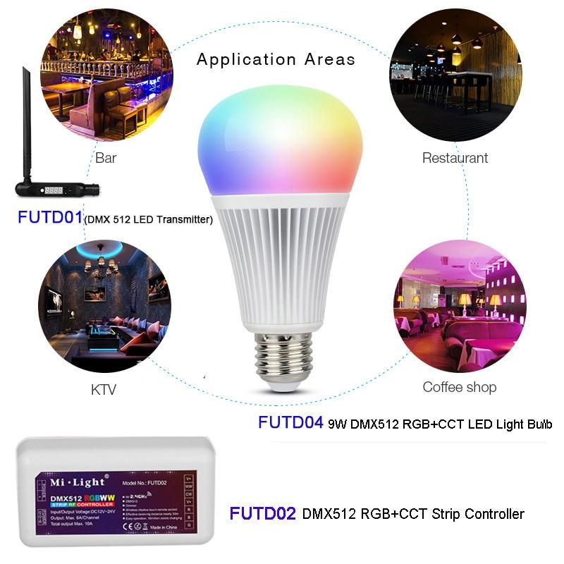 Milight DMX512 RGB + CCT E27 9 Вт Светодиодная лампа DMX 512 LED передатчик контроллер полосы