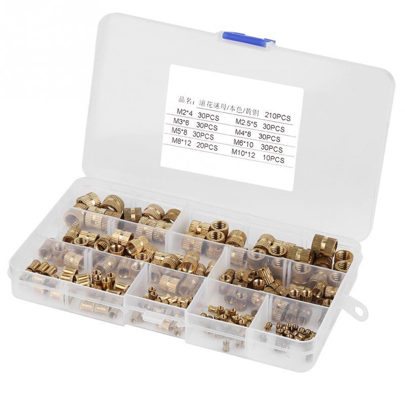 210Pcs/Set Knurled Nut Brass nuts Cylinder Knurled Threaded Round Insert Embedded Nuts wood insert nut
