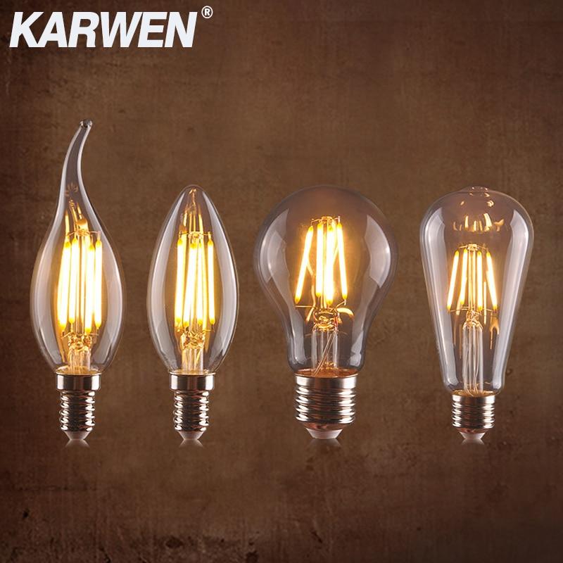 Светодиодный тажная Светодиодная лампа накаливания Edison E27 E14, 220-240 В, светильник 35, G45, A60, ST64, G80, G95