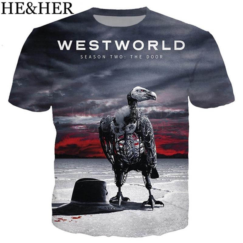 Recente chegada legal t camisa masculina/feminina 3d impresso tv quente westworld 2 t-shirts de manga curta harajuku estilo tshirt streetwear topos