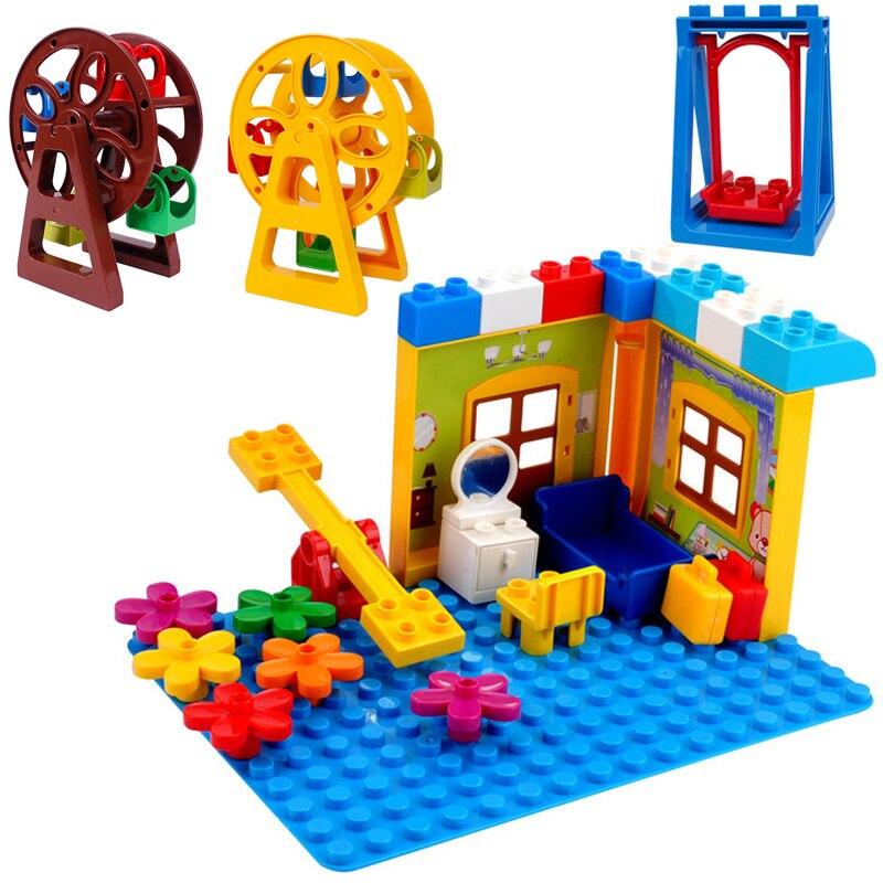 Большой размер парк развлечений ветряная мельница качели колесо обозрения строительные блоки слайд собрать кирпич совместимый Duploingly игрушка для детей