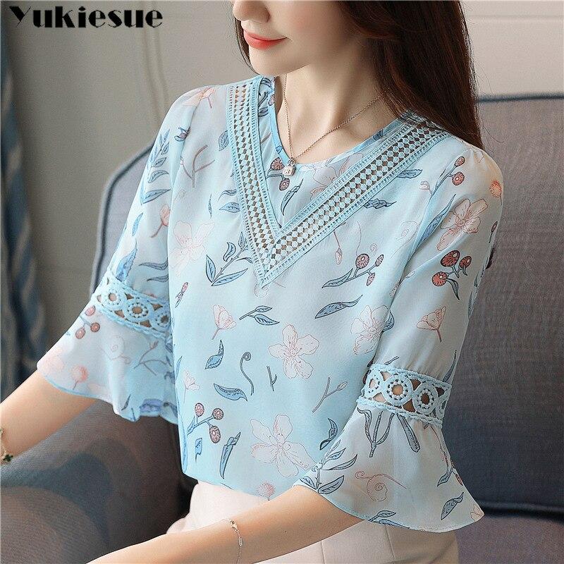 Blusa de chifón estampada a la moda para mujer, camisa de verano con mangas acampanadas, blusas de chifón caladas para mujer, blusas de talla grande