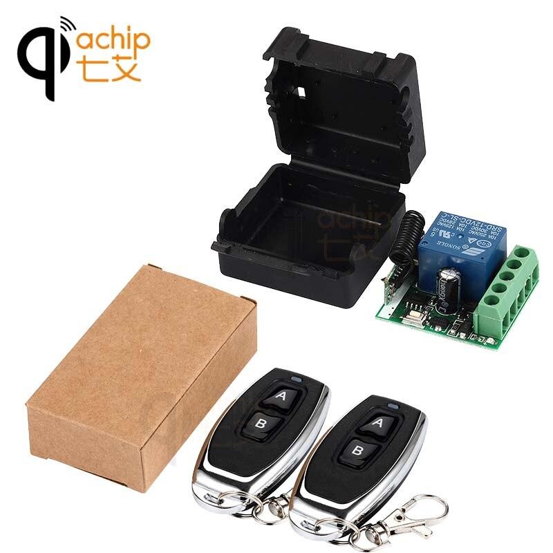 QIACHIP 433 Mhz Interruptor de Controle Remoto Sem Fio Universal DC 12 V Módulo de relé 1CH Receptor e 2 pcs RF Transmissor Controles remotos