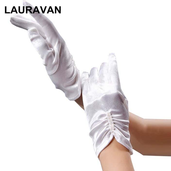 Nupcial do vintage elegante curto branco marfim luvas de casamento dedo comprimento do pulso pérola frisado cetim mulheres noiva luvas para casamento