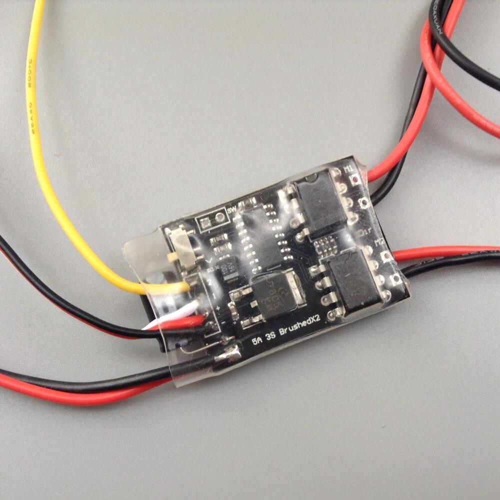 Mini controlador de velocidad ESC 2 S-3 S 5A de doble vía bidireccional ESC cepillado para barco de radiocontrol tuker 161 repuestos para vehículos de oruga