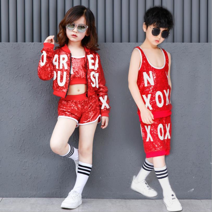 Conjunto de chaquetas de traje de competición de baile Hip-Hop de jazz con lentejuelas para niños y niñas ws229