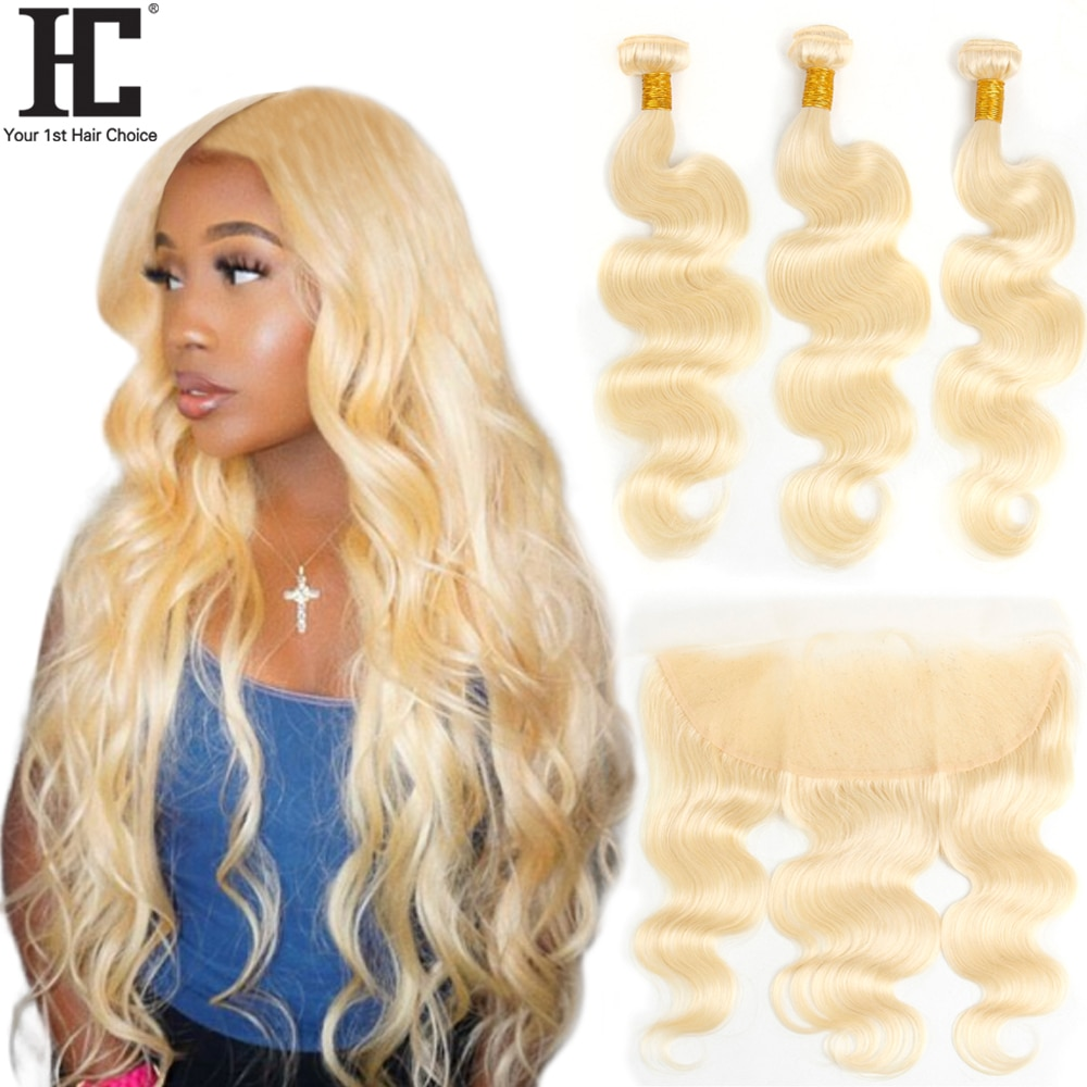 613 Blonde Bundles With Frontal Brazilian Human Hair Weave Body Wave Blonde 3 Bundles With 13x4 Lace Frontal Closure Remy Hair