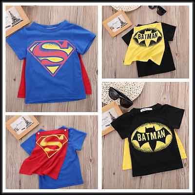 2016 kinder Jungen T-shirt Tops mit Cape Superman Batman Kinder sommer Kurzarm t-shirt T tops Baby Jungen Kleidung custume
