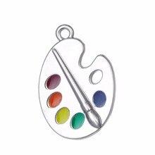 RAINXTAR mode alliage couleur artiste Palette charmes émail peinture Palette charmes pour enfants 20*30mm 10 pièces AAC1744