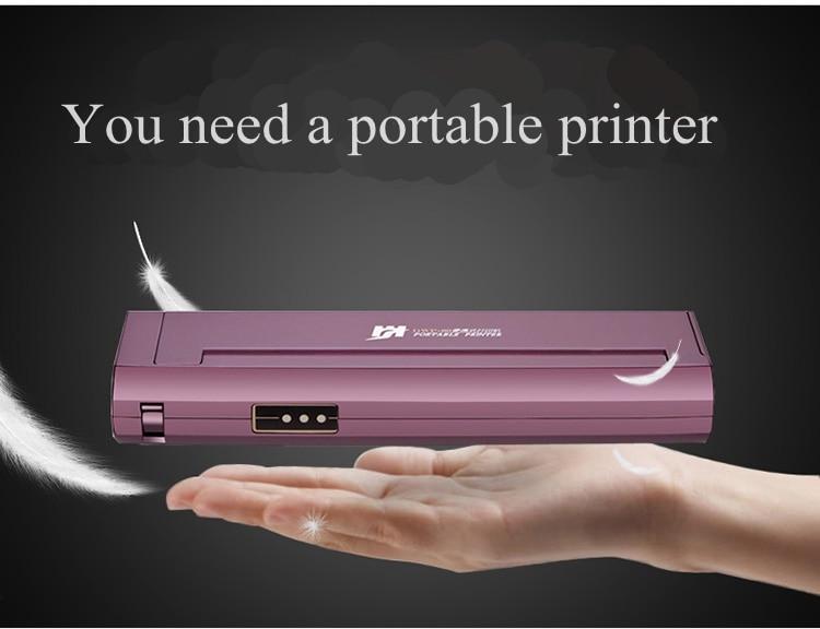 Impresora portátil de papel A4, Mini impresora térmica con conexión USB sin cartuchos, dibujo tatuaje