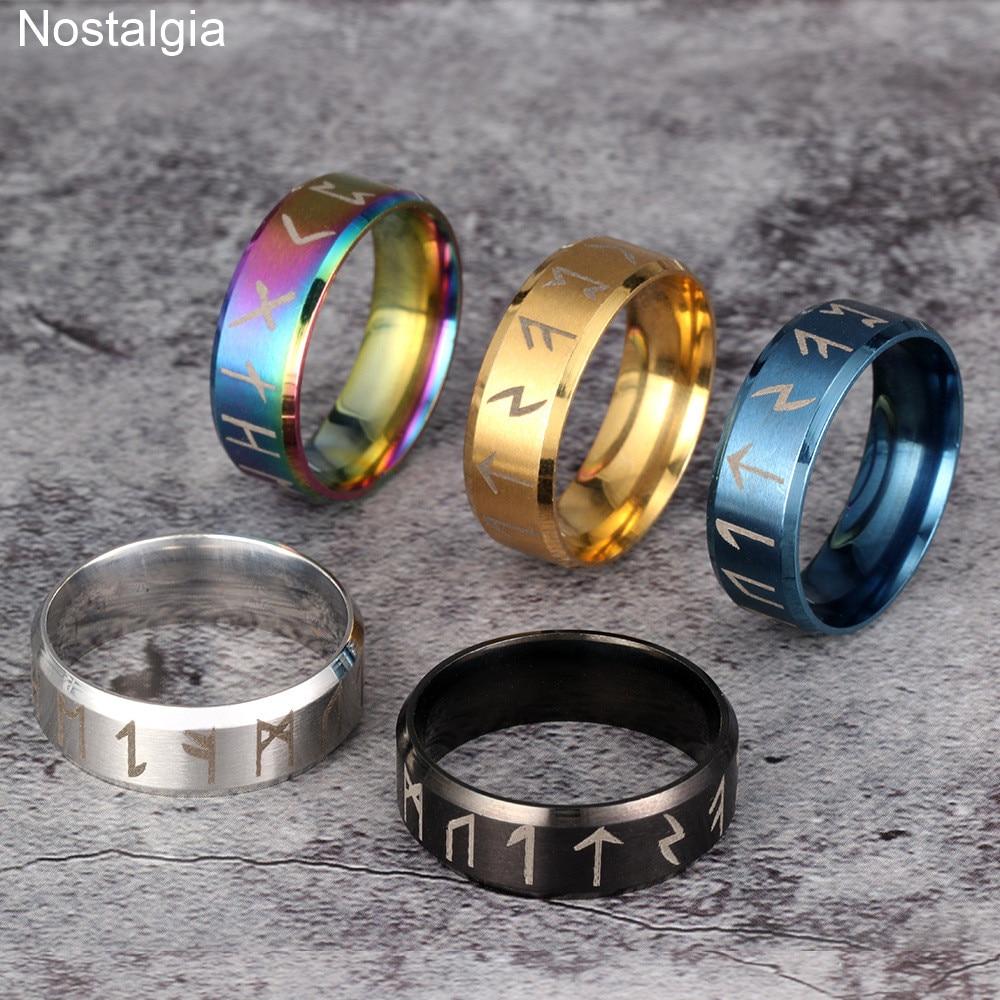 Norse Runes Signet Finger Jewelry Ladies Mens Viking Titanium Ring Silver Gold Black Blue Color