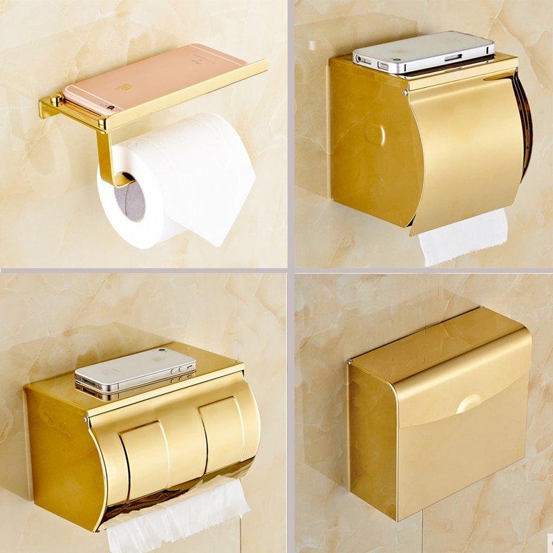 Aço inoxidável banheiro suporte do telefone de papel com prateleira do banheiro telefones celulares ouro toalheiro suporte papel higiênico caixas de tecido