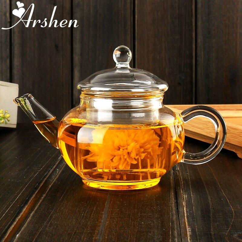 Arshen Elegante Copo Garrafa de 250 ml Bule de Vidro de Borosilicato Resistente Ao Calor para Blooming Chá De Café De Ervas com Infusor Em Forma de Presente