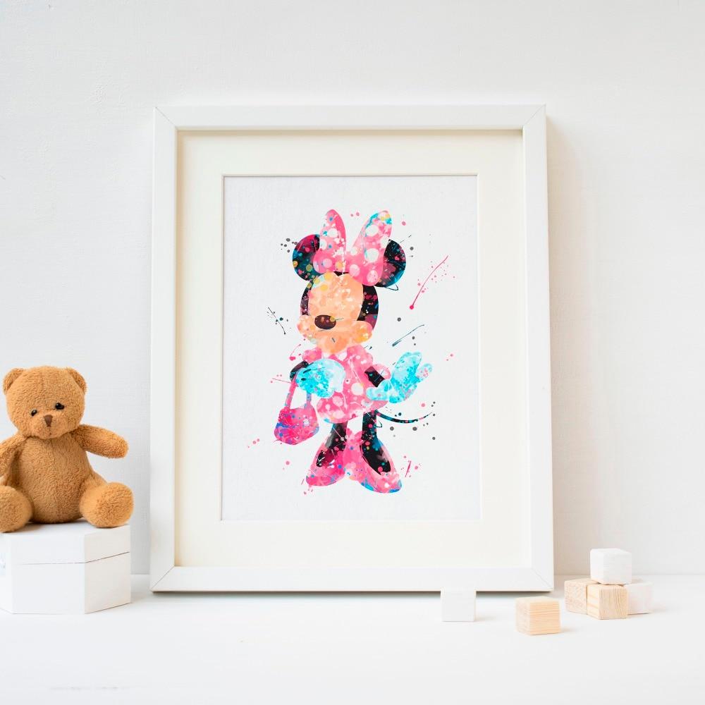 Dibujo de Minnie Mouse Impresión de cartel de acuarela, decoración de pared de habitación para niños, decoración para dormitorio infantil para bebés, idea de regalo