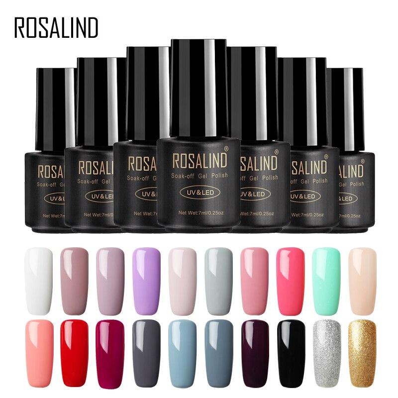 ROSALIND-esmalte de uñas en Gel UV, 58 unidades de colores puros de 7ML para manicura de uñas artísticas en Gel