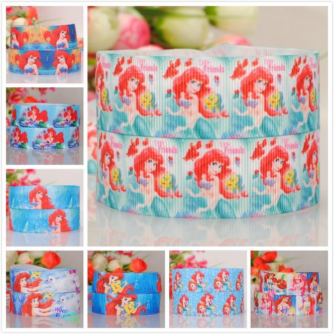 50% sales 5/10/20 yards 22/25mm cute mermaid princess ribbon printed grosgrain ribbon random delivery