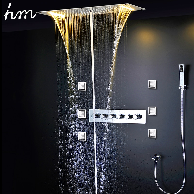 Hm-صنبور دش ثرموستاتي مخفي ، رأس دش LED ، 380 × 700 مللي متر ، صنبور ضباب ، 4 بوصة