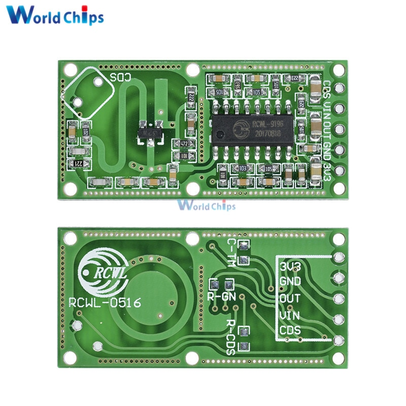 2 uds RCWL-0516 RCWL 0516 Sensor de Radar de microondas Módulo de Sensor de cuerpo humano MÓDULO DE Interruptor de Inducción salida 3,3 V