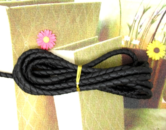 Livraison gratuite tressage noir bijoux en cuir véritable cordon Bracelet cordon 5mm dépaisseur 2 M/lots