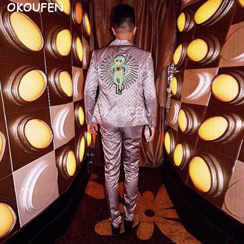 Traje delgado del bordado de los hombres Fashion traje de la barra del club nocturno masculino cantante DJ puesta en escena desgaste
