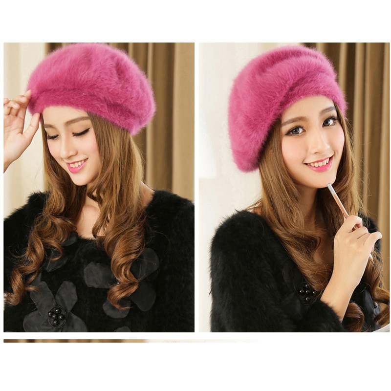 Boina qiu dong de sable al por mayor de pelo bonito de conejo de mujer de estilo coreano gorra de moda femenina
