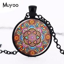 New Steampunk necklace mandala necklaces chakra pendant OM jewelry for women glass cabochon pendants