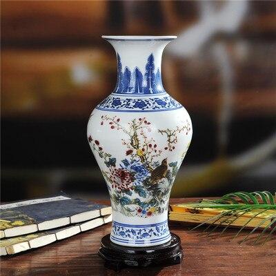 Paquete de correo Jingdezhen cerámica cola botellas de color azul y blanco cubo florero jarrón de artesanía del hogar