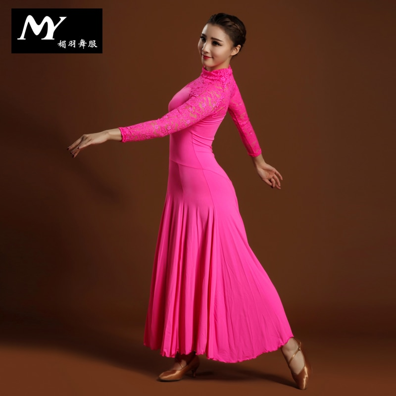 2017 Led Costume For Dancing Newest Design Handmade Dance Dress/standard Ballroom Competition Dress Modern Waltz Tango Hb105