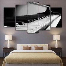 Toile dimages murales dart   Cadre moderne pour salon, 5 pièces clés de Piano, décoration des instruments de musique, affiche peinture imprimée HD