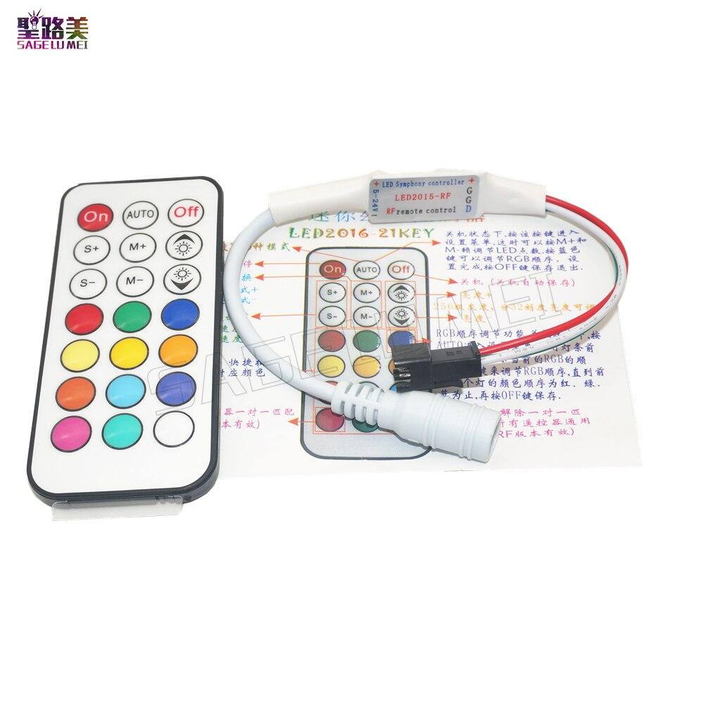 21 клавиша DC5V 12V WS2811 WS2812 RF светодиодный контроллер светодиодный Pixel RF контроллер для 1903 6812 полноцветный RGB светодиодный ленточный светильник