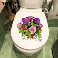 YOJA     autocollant mural Bouquet de roses creatif  decor de salle de bains  toilettes  fleurs de dessin anime  pour chambres denfants  T1-1961