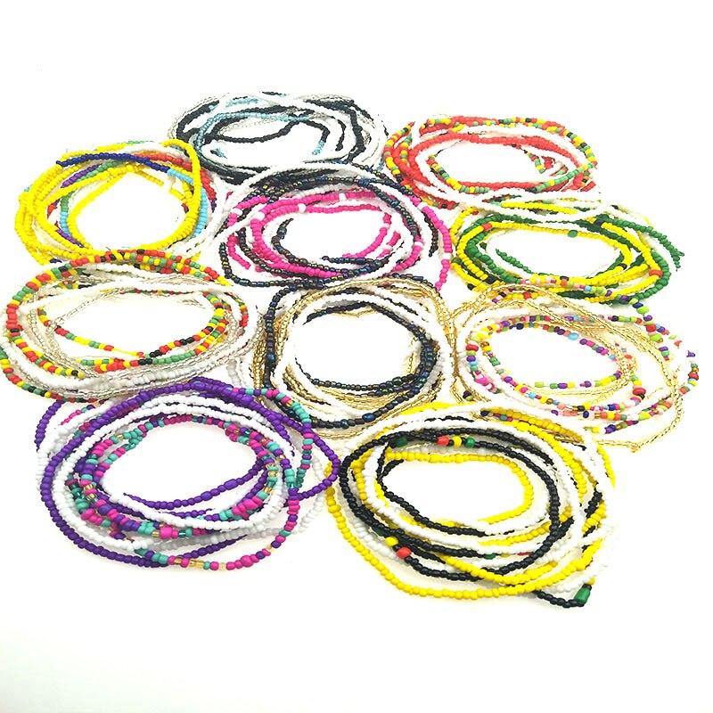 Diseñador original conjunto de 3 piezas de moda hecha a mano Cadena de arroz Cadena de cuentas cinturón de doble uso, regalos para niñas vendidos directamente de