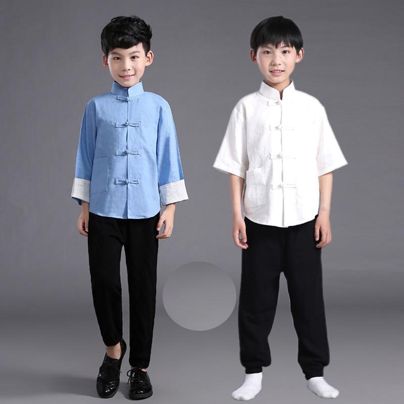 Camisa de lino para hombres y niños con traje chino Ming + Pantalones para niños y traje túnica China traje chino Tang de Kung Fu 18