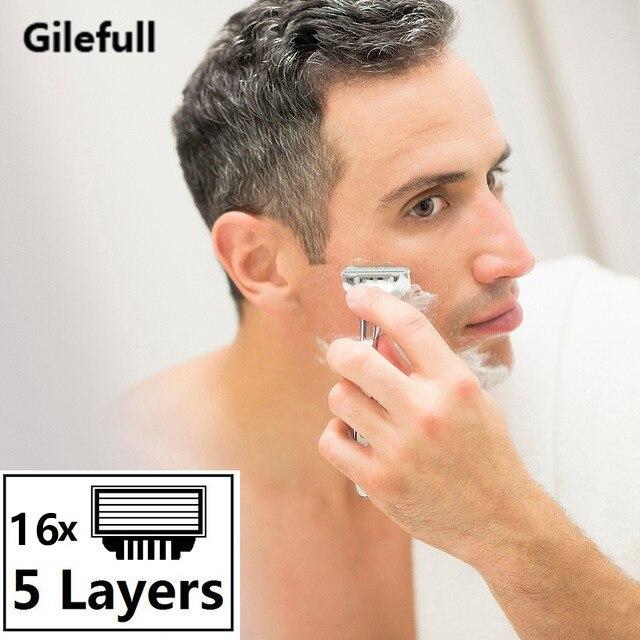 16 pçs 5 camadas lâminas de barbear lâminas de barbear para homens lâminas de barbear proglide fusão lâminas de barbear replacem