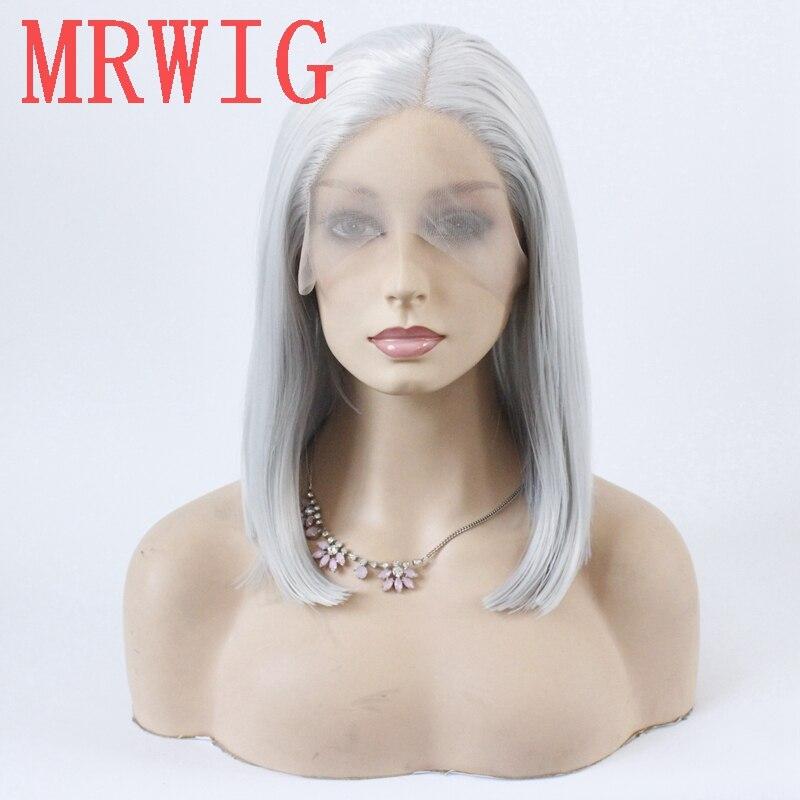 Mrwig prata cinza curto bob reta glueless parte do meio peruca de renda dianteira 12in 150% densidade cinza cor do cabelo peruca