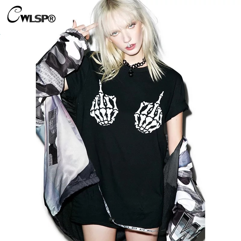 CWLSP 2018 nuevo Halloween gótico mano esqueleto impreso mujer camiseta manga corta negro Tops mujer ropa QA2666