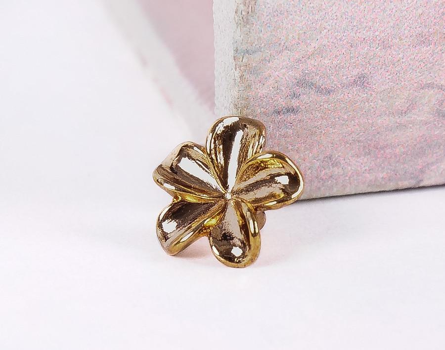 10X 13mm lindo Bling Glod 3D flor Rapid remache cuero artesanía cinturón bolsa Stud Decor