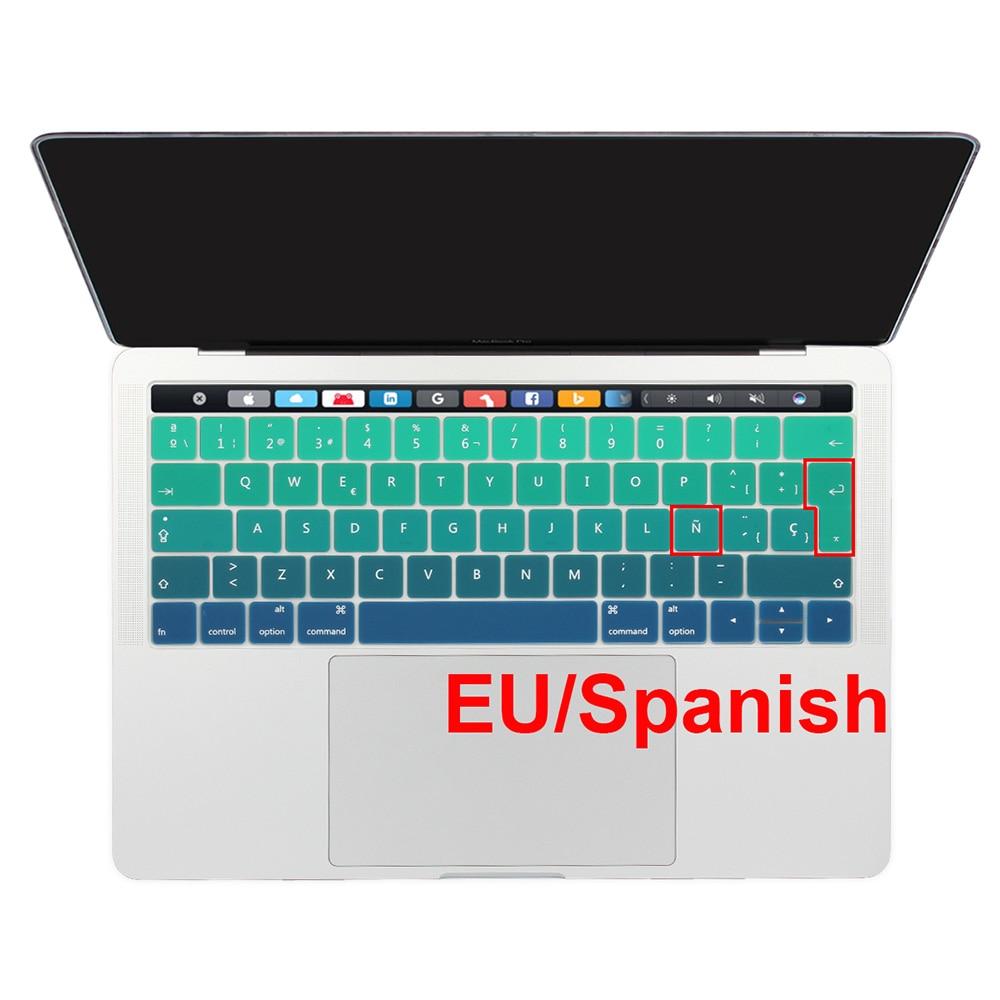 ЕС испанский язык силиконовый чехол для клавиатуры протектор кожи для Macbook 2018 2019 Pro 13 15 с сенсорной панелью Retina Pro 13,3