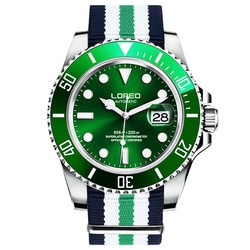LOREO Safira Automáticas Homens Mecânicos do Relógio de prata dial Nylon verde à prova d água de aço Inoxidável Assista relogio masculino