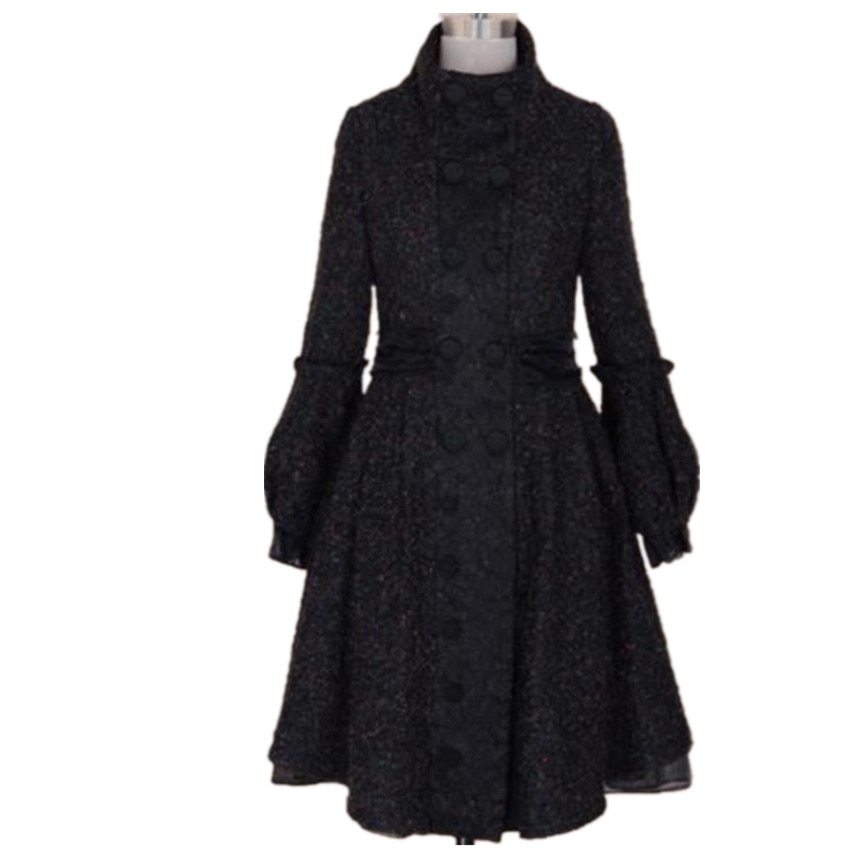 Inverno moda elegante do vintage feminino lanterna manga casaco de lã vintage preto duplo breasted lã mistura casaco